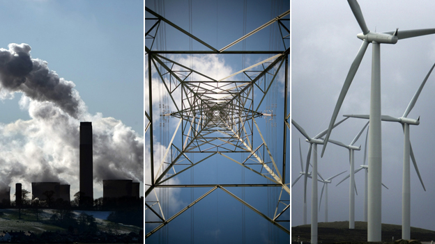 A power station, electricity pylon and windfarm