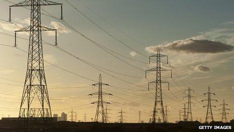 Pylons near Barking Power Station in east London