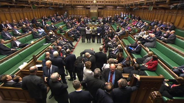 Tellers line up before the despatch box