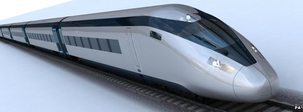 Artwork of possible HS2 train design