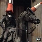 Glasgow's Duke of Wellington monument, adorned with traffic cones