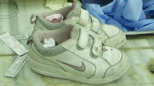 Vanessa's trainers in the mortuary at the Mujtahed hospital