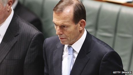 Prime Minister Tony Abbott during a swearing in ceremony in the House of Representatives chamber at Parliament House on 12 November 2013 in Canberra, Australia