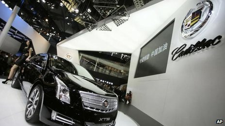 A Cadillac XTS displayed at the Shanghai International Automobile Industry Exhibition