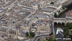 Aerial view of Bath city centre