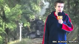 Josh from Emerald Secondary College using green screen technology
