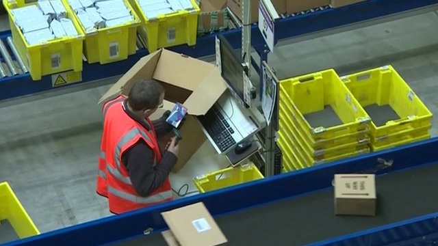 Worker in Amazon warehouse
