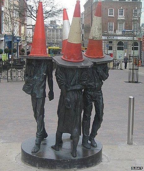 Cones on statues