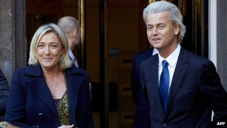 Marine Le Pen and Geert Wilders during past discussions of their possible alliance