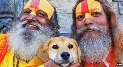 Dog with Hindu holy men
