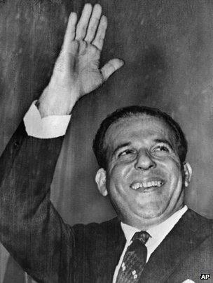 Joao Goulart waves as he is sworn in on 7 September 1961 in Brasilia