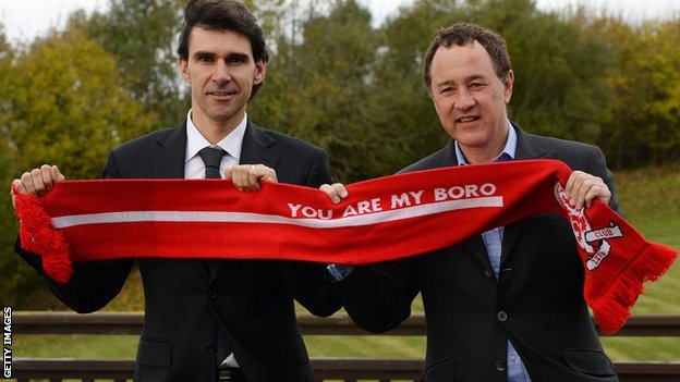 Middlesbrough manager Aitor Karanka (left) and chairman Steve Gibson (right)