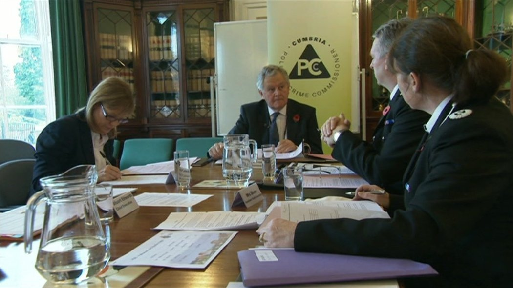 Cumbria police and crime commissioner Richard Rhodes holding a meeting