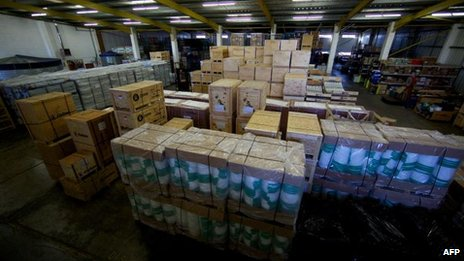 Aid packages at Oxfams UK's warehouse in Bicester, Oxfordshire