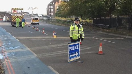 Police at the scene of the Bow roundabout fatal accident