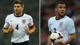 Steven Gerrard & Kyle Walker playing for England