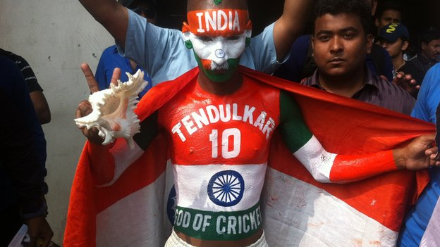 A picture of Sudhir Chaudhary showing off his Tendulkar body art