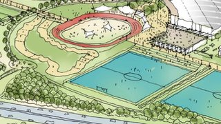 Artist's impression of proposed Trumpington sporting village