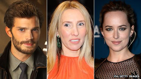 Jamie Dornan, Sam Taylor-Johnson and Dakota Johnson