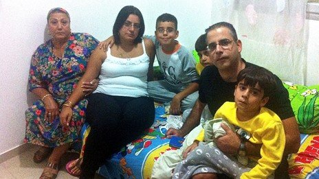Kobi Levi with his wife, three kids and their grandmother in their bomb shelter