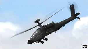 British Army Apache helicopter