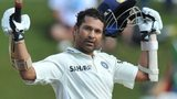 Sachin Tendulkar acknowledges the crowd after scoring a century
