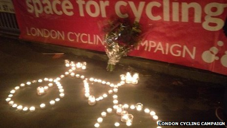 Vigil for cyclist at Bow Roundabout