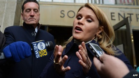 Canadian actress Genevieve Sabourin, accused of stalking actor Alec Baldwin, talks to the media outside Manhattan Criminal Court 12 November 2013