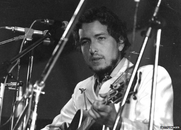 Bob Dylan at the Isle of Wight Pop Festival, England, in 1969