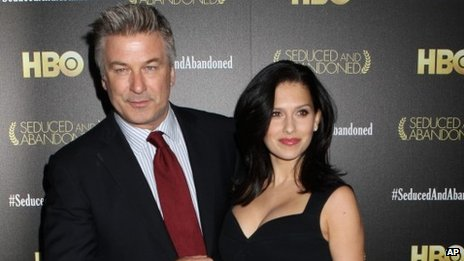 Alec Baldwin and Hilaria Baldwin attend a premiere in New York on 24 October 2013