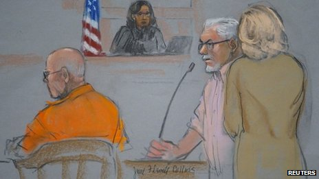 "A courtroom artist's sketch shows Steve Davis (2nd R), brother of murder victim Debra Davis, speaking during the sentencing hearing for convicted mobster James ""Whitey"" Bulger (L), as judge Denise Casper (C) looks on in Boston, Massachusetts 13 November 2013"