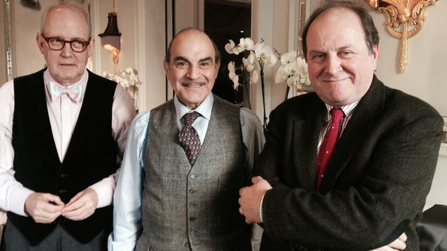 Geoffrey Wansell, Poirot biographer, David Suchet and James Naughtie.