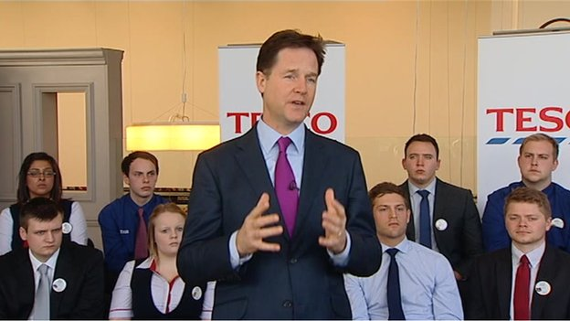 Nick Clegg at Tesco