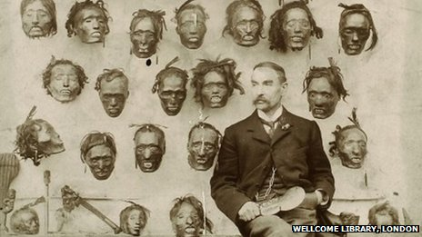 Major General Horatio Gordon Robley with his collection of Maori heads, 1895