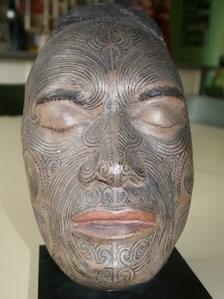 Warrington Museum mask of a tattooed Maori head