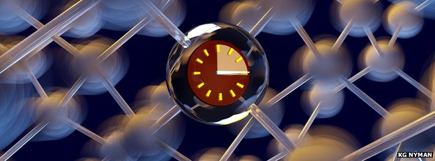 Artist's impression of a phosphorus atom qubit in silicon, showing a ticking clock