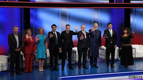 Marcel Claude, Michelle Bachelet, Evelyn Matthei, Marco Enriquez Ominami, Tomas Jocely-Holt, Ricardo Israel, Alfredo Steir Green, Franco Parisi, Roxana Miranda during a presidential candidate on 29 October, 201.