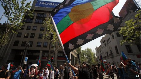 A protester waves a Mapuche Nation flag during a march against the commemoration of the discovery of America by Christopher Columbus in Santiago on 12 October, 2013