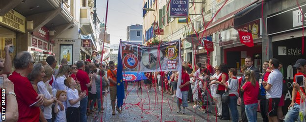 Gibraltar celebrates their acceptance into Uefa