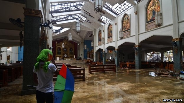 Damaged church in Tacloban, Philippines, 14 November 2013