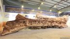 An enormous wooden carving.