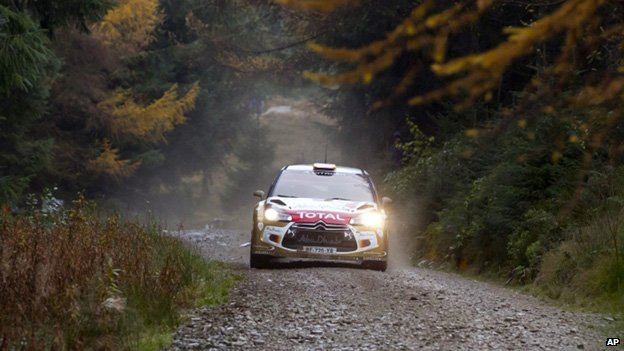 Sordo and co-driver Carlos Del Barrio again as they pass through Llandegla Forest
