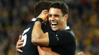 Israel Dagg and Dan Carter celebrate
