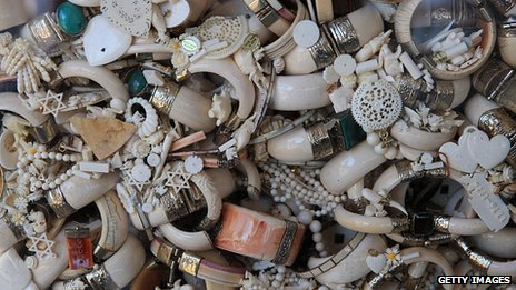 Small ivory items ready to be crushed. 14 Nov 2013