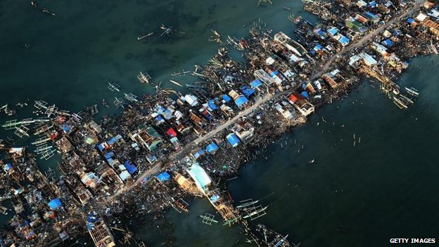 Demolished town on eastern Samar Island (14 November)