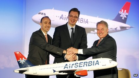 Dane Kondic, chief executive of Air Serbia, left, Serbia's deputy Prime Minister Aleksandar Vucic, centre, and Etihad Airways' James Hogan