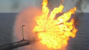 Flare from oil platform