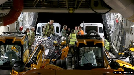 Humanitarian aid is loaded onto a C-17 aircraft at RAF Brize Norton