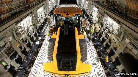 JCB equipment on aircraft