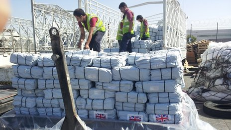 Goods being loaded in Dubai
